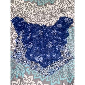 Blue & White designed Off The Shoulder Crop Top